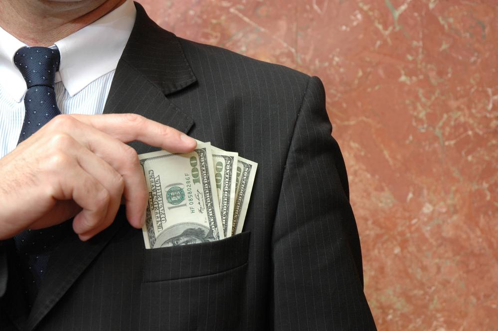pocketing money